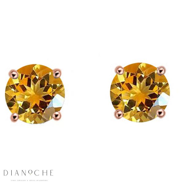 classic citrine earrings rose gold